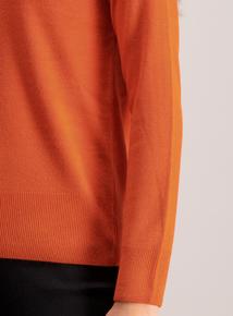 Orange Soft Touch Moss Stitch Jumper