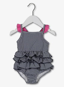 Navy Gingham Swimming Costume With Swim Nappy (0-24 months)