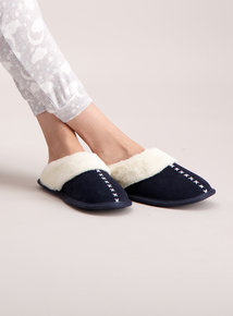 Navy Cross Stitch Suede Slippers