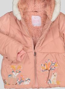 Pink Deer Valley Hooded Long-Sleeved Puffer Coat (9 months - 6 years)