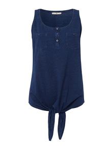 Blue Plain Knot Front Vest