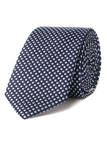 Navy Silver Textured Slim Tie