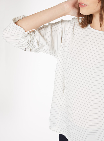 White Stripe Ruched Sleeve Blouse
