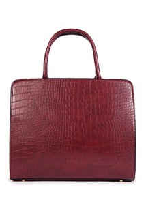 Dark Red Faux Crocodile Skin Handbag