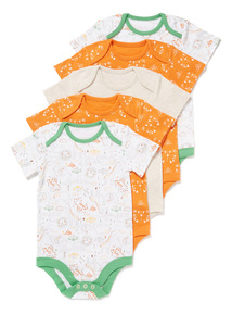5 Pack Multicoloured Animal Short Sleeve Bodysuits (Newborn-36 months)