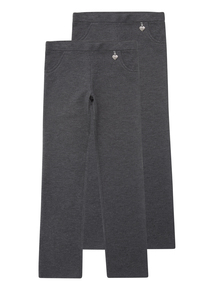 Girls Grey Jersey Trousers 2 Pack (13-16 Years)