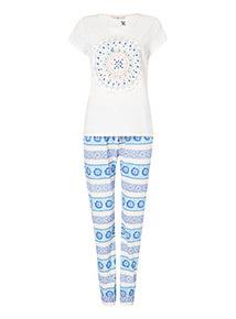 Cream Mandala Glitter Print Pyjamas