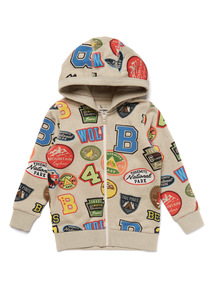 Beige Badge Print Zip Through Hoody (9 months- 6 years)