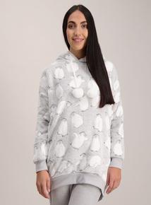 Grey Penguin Print Fleece Hoodie