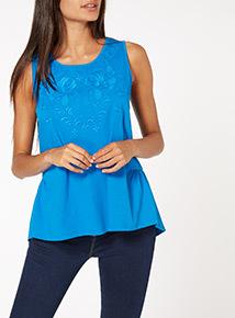 Blue Plain Lace Vest