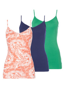 Multicoloured Cami Tops 3 Pack