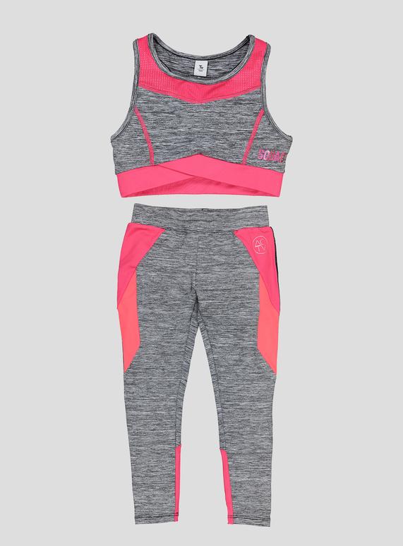 3f8b2184f27456 Kids Multicoloured Dance Crop Top & Leggings Set (3-14 years) | Tu clothing
