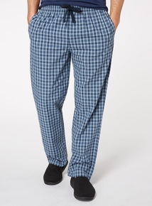 Blue and Navy Checked Pyjama Bottoms