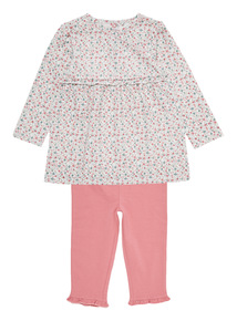 Pink Jersey Floral Dress And Leggings Set (0-24 months)