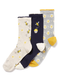 3 Pack Multicoloured Bumble Bee Socks