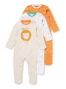 3 Pack Blue Animal Kingdom Sleepsuits (Newborn-24 months)