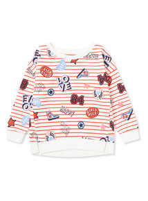 Multi-Coloured Striped Badge Print Sweatshirt (3-14 years)