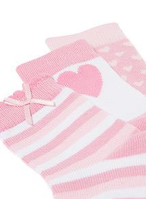 3 Pack Pink Heart Socks (1-24 months)