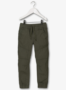 Khaki Woven Cuffed Rib Wasted Trousers (3-12 years)