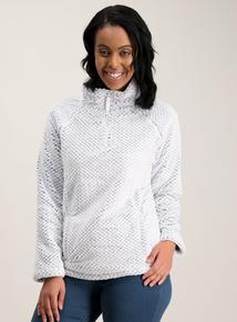 Grey Diamond Textured Half Zip Fleece