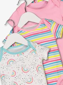 Multicoloured Rainbow Bodysuits 5 Pack (Newborn - 3 years)