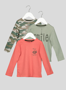 Multicoloured Printed Long Sleeve T-Shirt 3 Pack (9 months - 6 years)