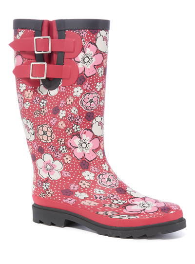 Floral Print Rubber Welly