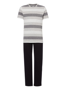Black Marl Stripe Crew & Pyjama Trousers 2 Pack