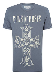 Blue Guns and Roses T-Shirt