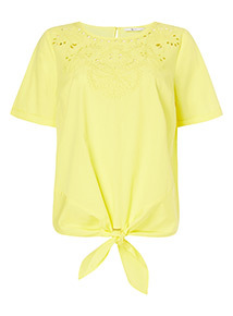 Yellow Embroidered Tie Front Top