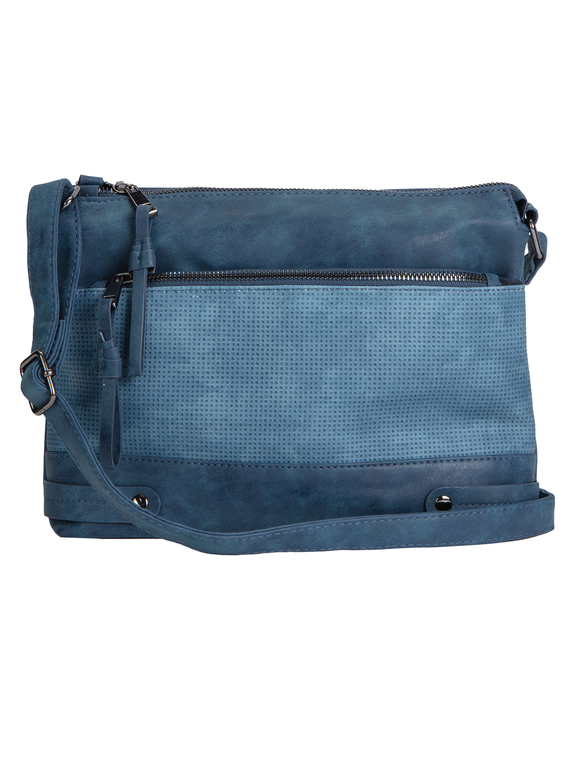 Blue Perforated Detail Cross Body Bag