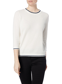 White Textured Tipped Jumper