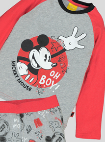 Disney Mickey Mouse Red & Grey Long-Sleeved Pyjamas (1-7 Years)