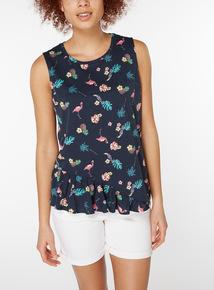 Flamingo Print Frill Hem Vest
