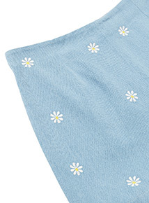 Blue Daisy Denim Embroidered Shorts (3-14 years)