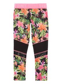 Neon Multicoloured Floral Print Dance Leggings (5 - 14 years)