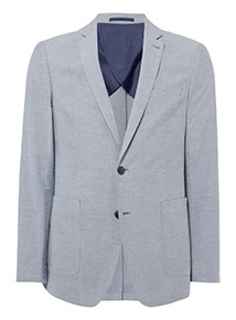 Blue Chambray Suit Tailored Fit Jacket