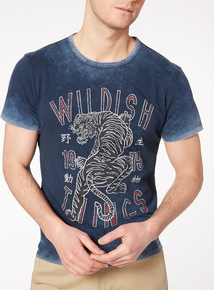 Blue Tiger Print T-Shirt