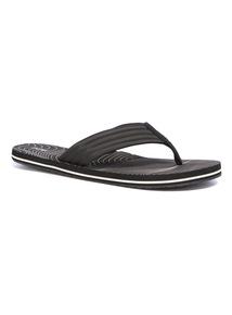 Black Ribbed Strap Flip Flops