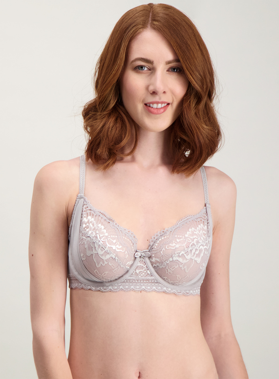 616fee04f67 Womens Grey Two Tone Lace Full Cup Bra | Tu clothing