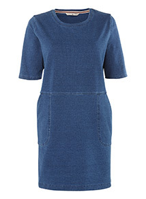 Blue Denim Longline Sweat Dress
