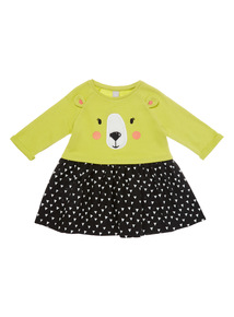 Multicoloured Bear Face Jersey Dress (9 months-6 years)