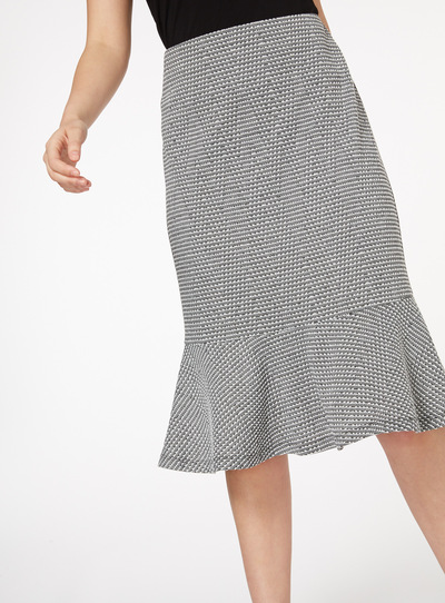 Woven Peplum Midi Skirt