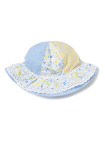 Multicoloured Meadow Print Panel Hat
