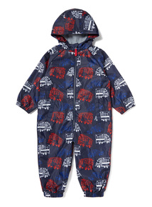 Navy Fleece Lined Transport Print Puddle Suit (9 months-6 years)