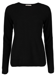 Black Round Neck Cable Detail Jumper