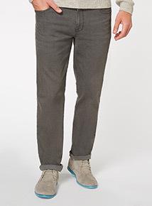 Grey Wash Denim Straight Jeans