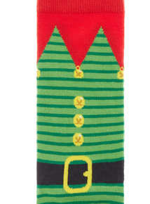 Green 1 Pack Elf Outfit Socks