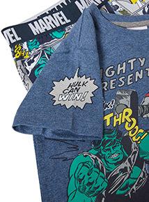 Blue Disney Marvel Avengers Hulk and Thor Pyjama Set (2-12 years)