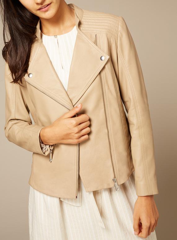 Premium Stone Leather Jacket